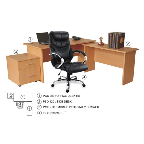 ERGOSTAR Side Desk Panel [PSD120] - Beech - Meja Kantor